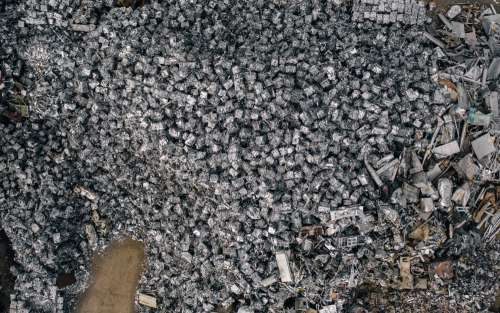 Aerial View Of Mountains Of Crushed Metal Cubes Photo
