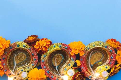 Three Diwali Diya Photo