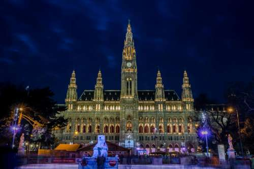 Night View of Town hall from ice skating rink in Vienna, Austria