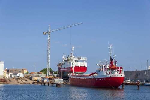 Ships at a Shipyard