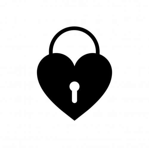 Heart shaped lock vector icon