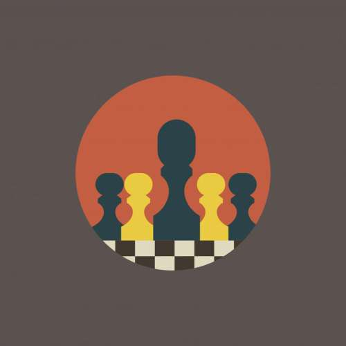 Chessboard with chess pieces vector icons