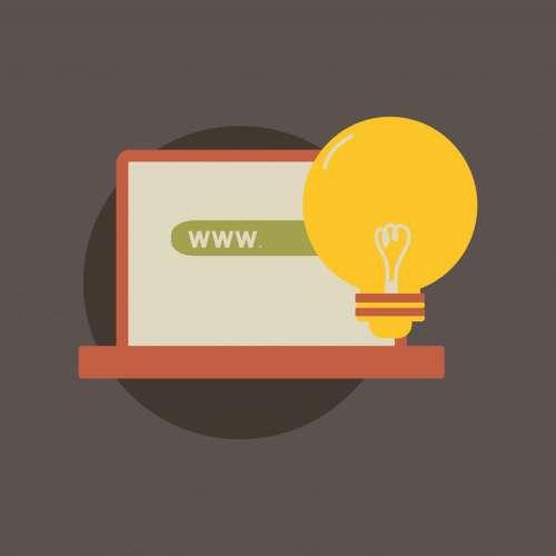 Laptop computer bulb icon vector