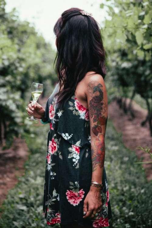 Woman in Vineyard Free Photo