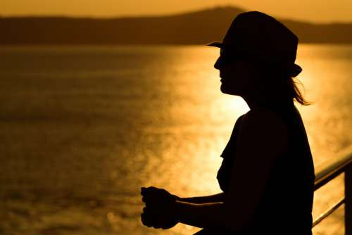 Woman Sunset Water Free Photo