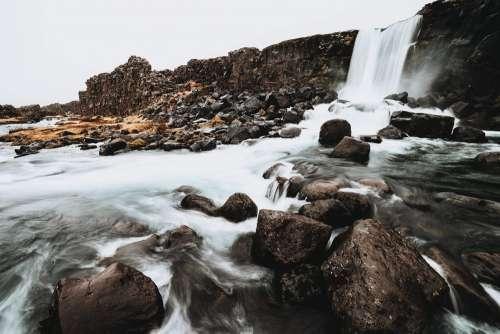 Öxarárfoss Waterfall Iceland Free Photo