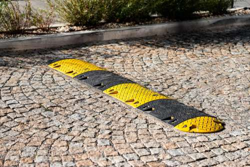 Striped Speed Bump Free Photo