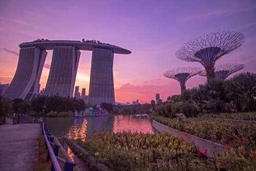 Singapore Sunset Architecture Building Bay Travel