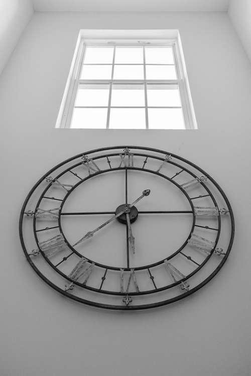 Blackandwhite Clock Watch Antique Time Hours