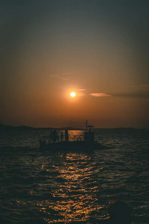 Sunset Zadar Croatia Sea Summer Sky Ship Clouds