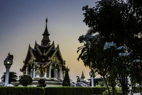 Sunset Temple Travel Spiritual Landscape