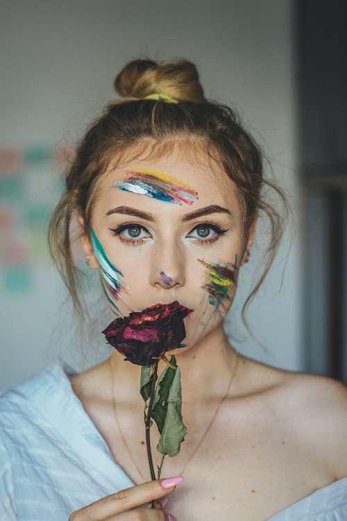 Rose Eyes Portrait Woman Person Makeup Flowers