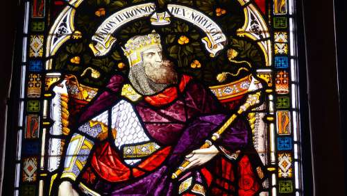 King Hakon Norway Stained Glass Window