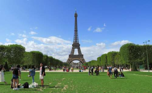 Tower Eiffel Paris Tourism Field Of Mars Lawn Sky