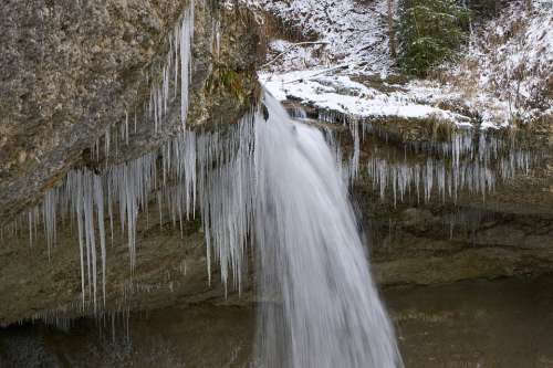 Winter Waterfall Frozen Scenic Nature Snow Icicle