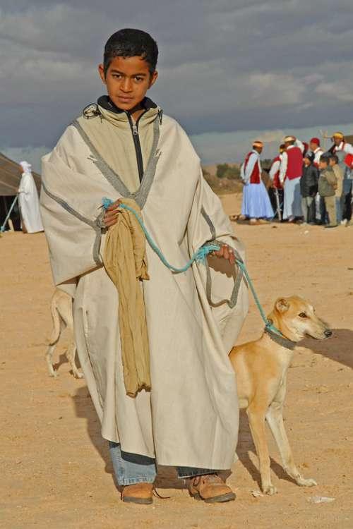 Tunisia Boy Desert Dog Friendship