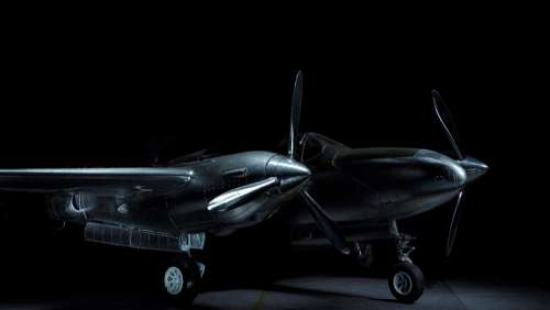 P38 Lightning Aircraft Model Light Painting