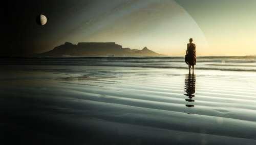 Planet Moon Beach Sunset Woman Waves Wading