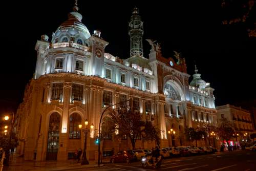 Valencia Spain Architecture Building City Lighting