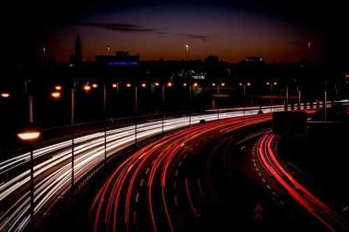 Highway Light Trail Long Exposure Speed Traffic