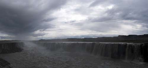 Guldfoss Iceland Waterfall Panoramic Icelandic