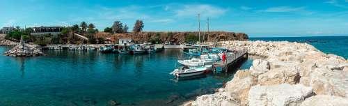 Pomos Harbor Cyprus Panorama Boats Sea Travel