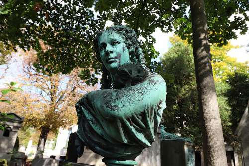Statue Sculpture Bust Bronze Gray-Green Patina