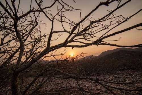 Sunset West Dry Landscape Sky Nature Twilight
