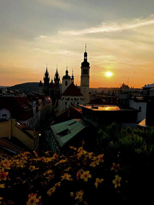 Prague Sunset Landmark Czech Europe Romantic