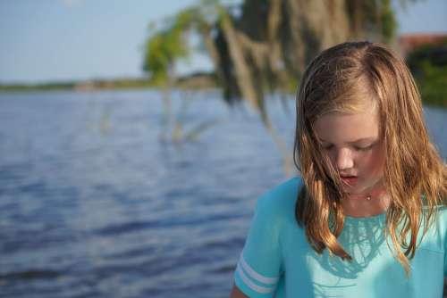 Lake Water Nature Girl Calm Outdoors