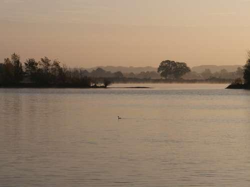 Lake Water Morning Landscape Rest Mood