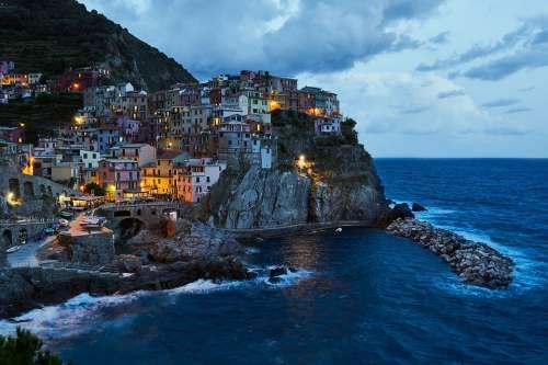 Cinque Terre Manarola Blue Hour Italy Mediterranean