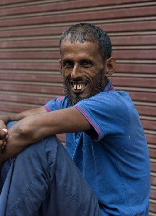 Man Rabbit Teeth Indian Asian Man Sitting Poor