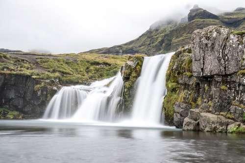 Iceland Waterfall Landscape Water Kirkjufellsfoss