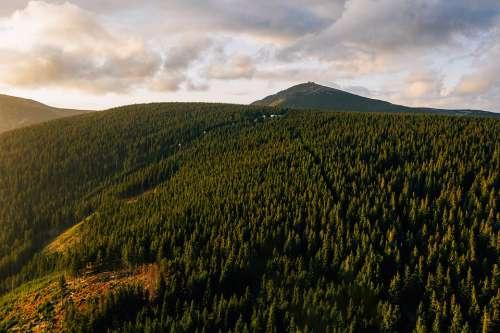 Aerial Drone Giant Mountains Mountains Karkonosze