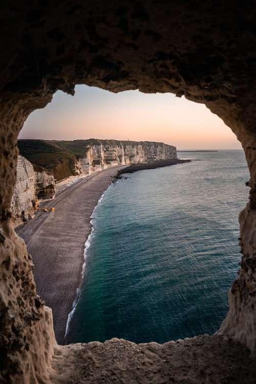 Etretat Beach Sunrise Normandy France Sea