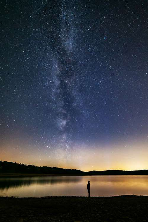 Milky Way Human Lake Dreams Night Sky Galaxy
