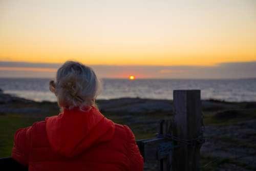 Sunset Sea Water Sun Sky Himmel Woman Coastal