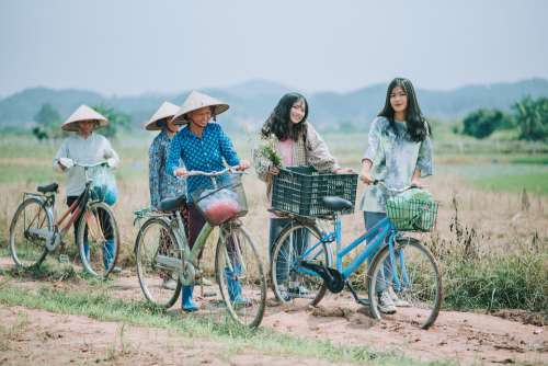 People Girl Woman Together Outdoor Bike Farmer