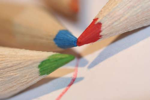 Red Pen Save Colored Pencil Red Green Blue