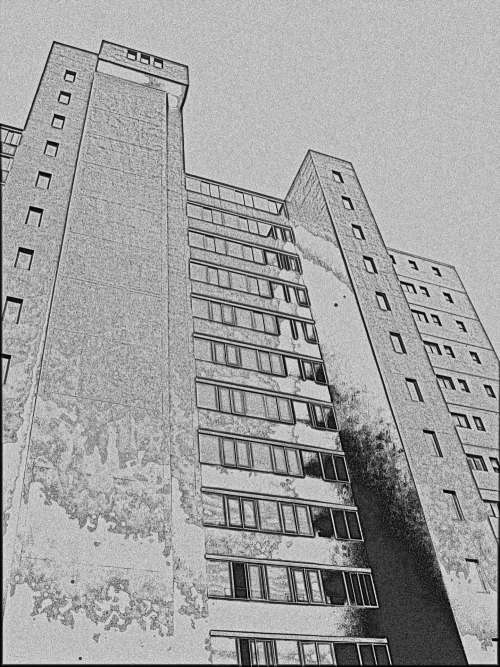 Line Drawing Of A Tall Building