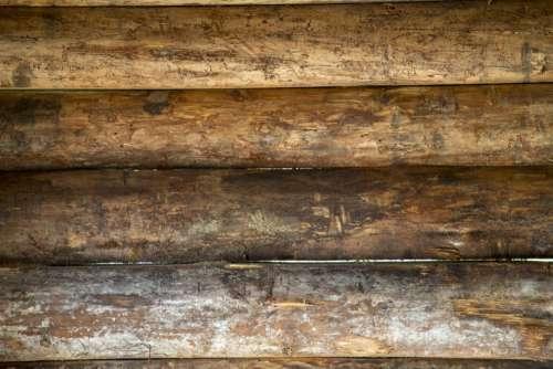 Beige Wall From Wooden Logs