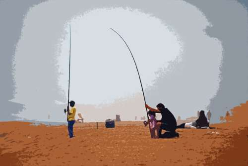 People Relaxing & Fishing On Beach