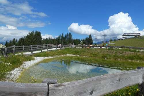 serles mountain lake alps panorama stubaital austria