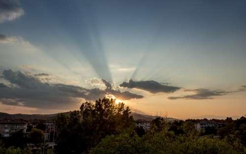 sunset fog rays sky cloud