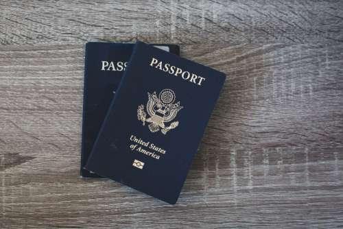 passport table travel close up flat lay