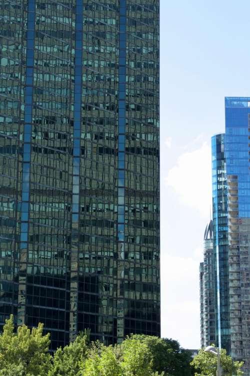 city building windows sky downtown