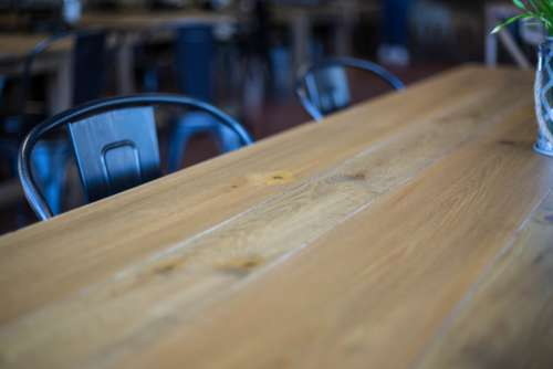 wood table empty chair wooden