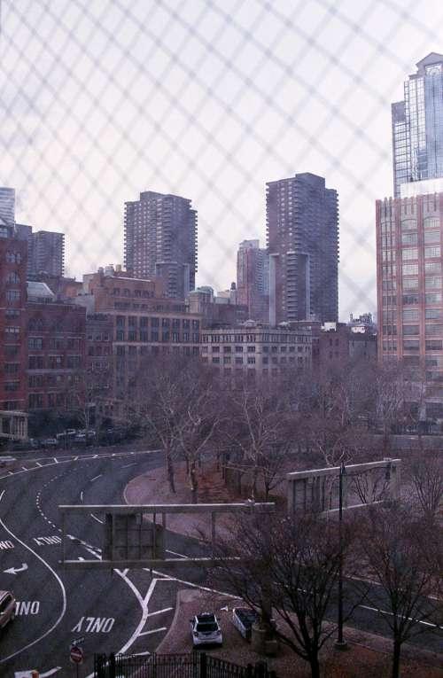 city buildings view tall brick