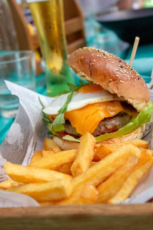 Cheesy Hamburger with French Fries